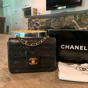 CHANEL Lambskin Quilted Mini Square Flap Bag 24K